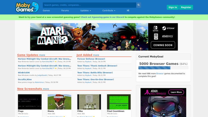 MobyGames Landing Page