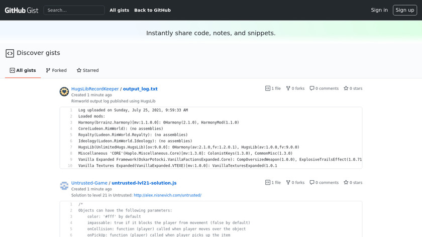 GitHub Gist Landing Page