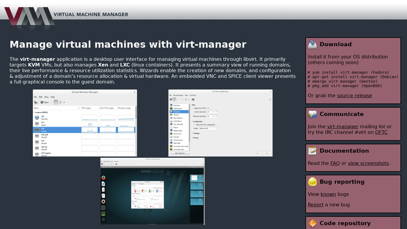 virt-manager Landing Page