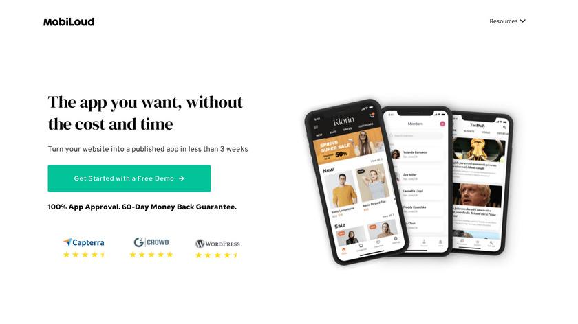 Mobiloud Landing Page