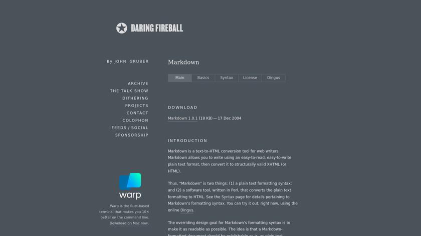 Markdown by DaringFireball Landing Page