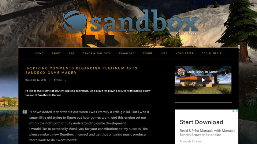 Platinum Arts Sandbox Landing Page