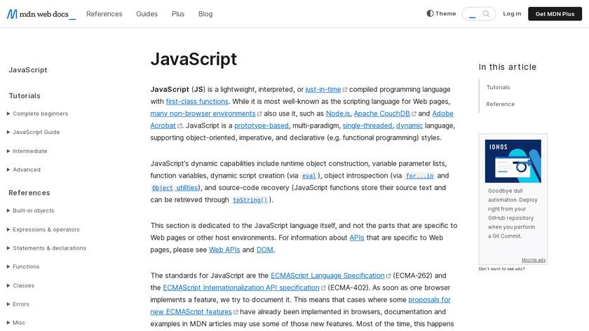 JavaScript Landing Page
