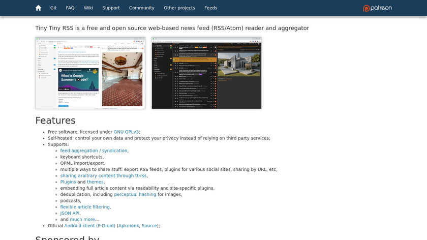 Tiny Tiny RSS Landing Page