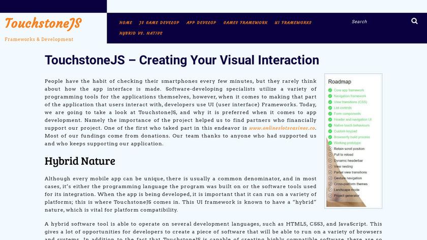 TouchstoneJS Landing Page