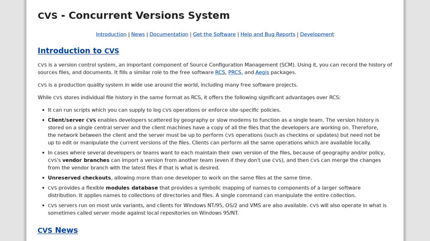 CVS (Concurrent Versions System) Landing Page