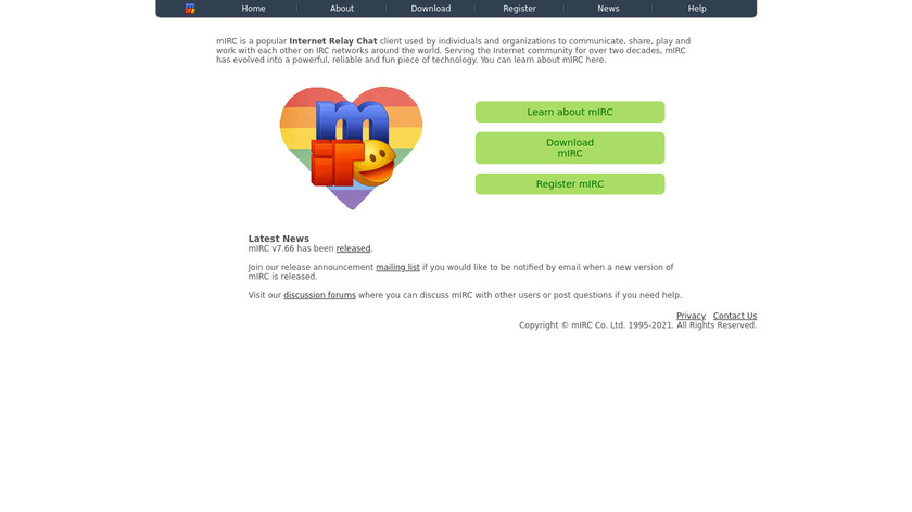 mIRC Landing Page