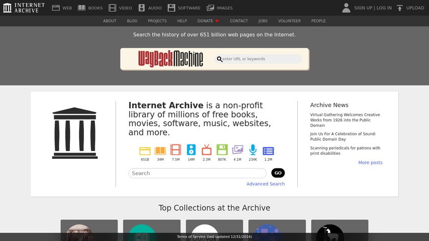 Internet Archive Landing Page