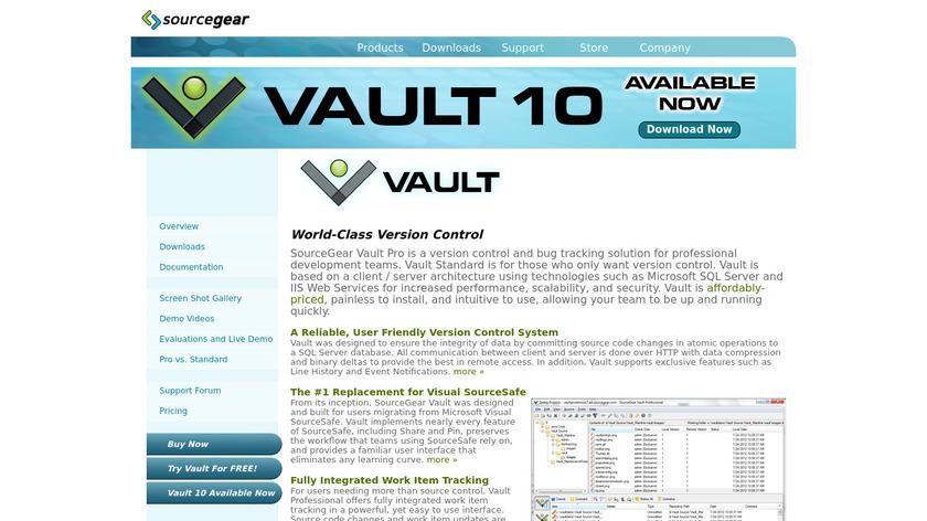 Vault VCS Landing Page