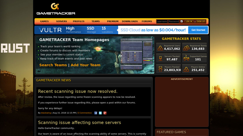 GameTracker Landing Page