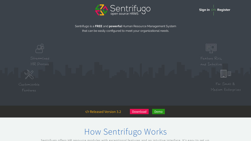 Sentrifugo HRMS Landing Page