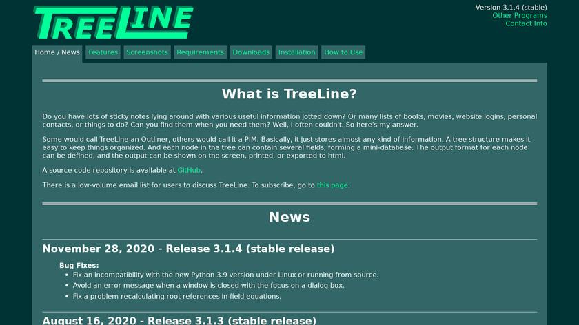 TreeLine Landing Page