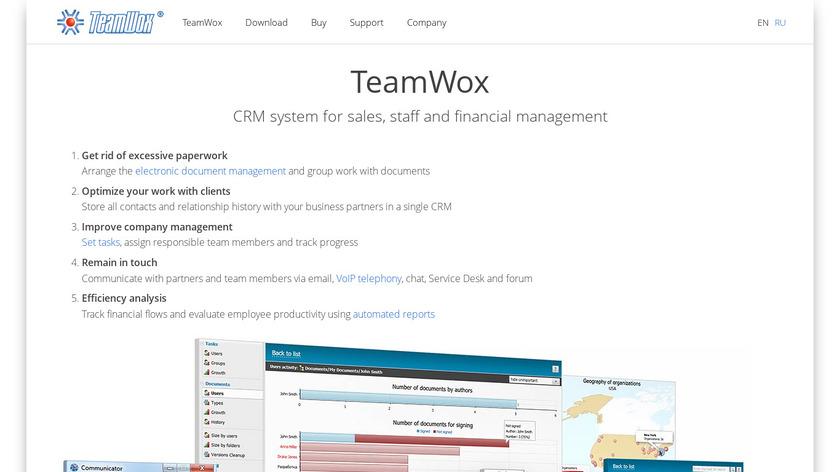 TeamWox Landing Page