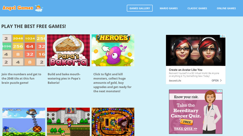 Angelgames.co Landing Page