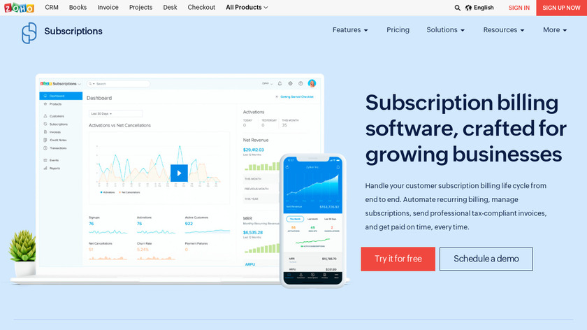 Zoho Subscriptions Landing Page