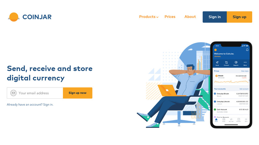 Coinjar Landing Page