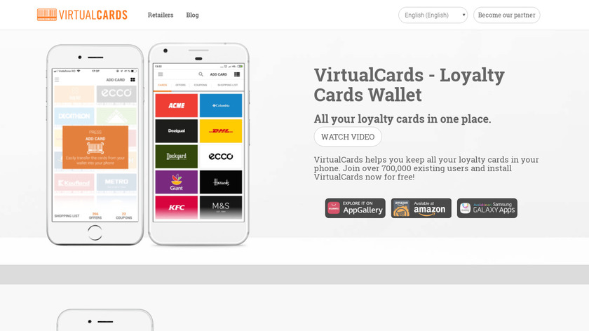 VirtualCards Landing Page