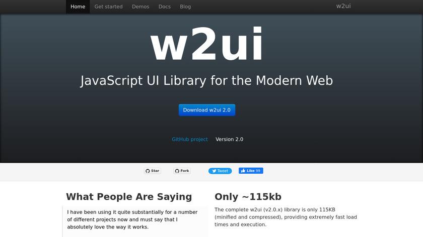 w2ui Landing Page