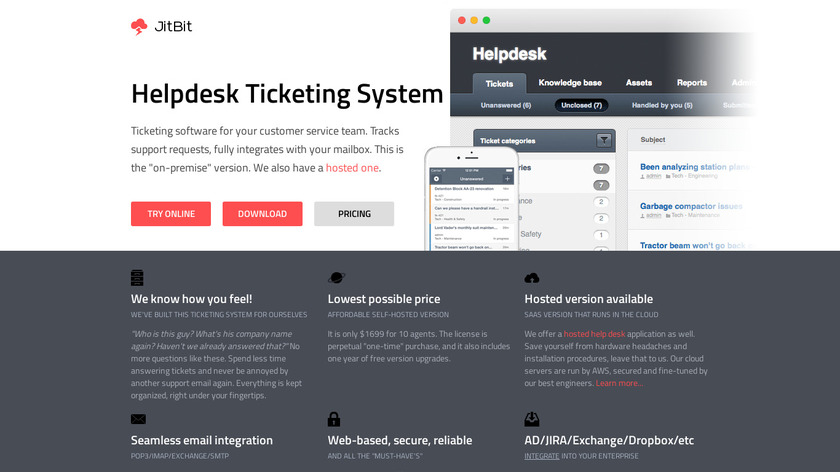 JitBit Helpdesk Landing Page