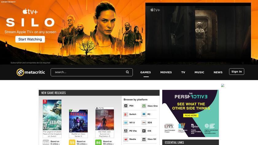 GameRankings Landing Page