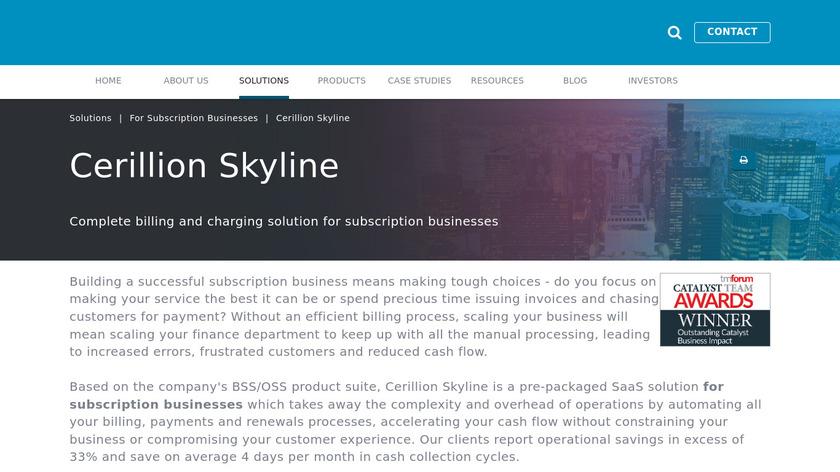 Cerillion Skyline Landing Page