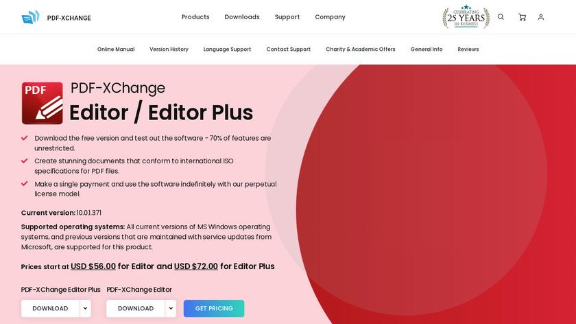 PDF-XChange Editor Landing Page
