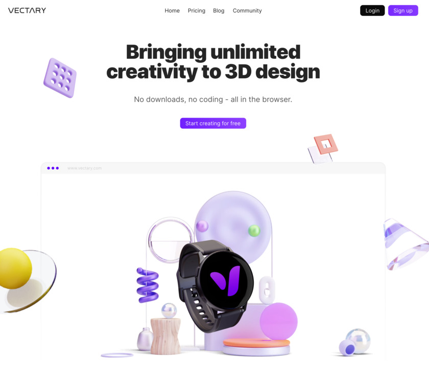 Vectary Landing Page