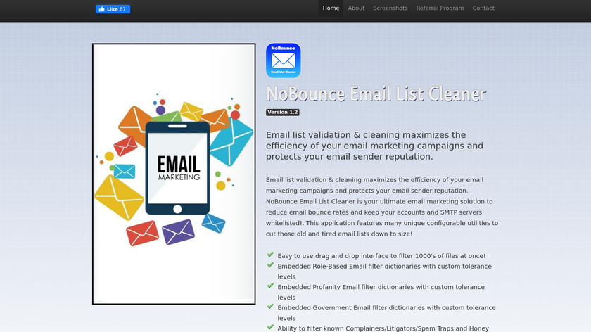 NoBounce Email List Cleaner Landing Page