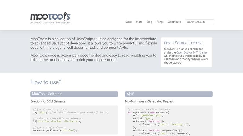 MooTools Landing Page
