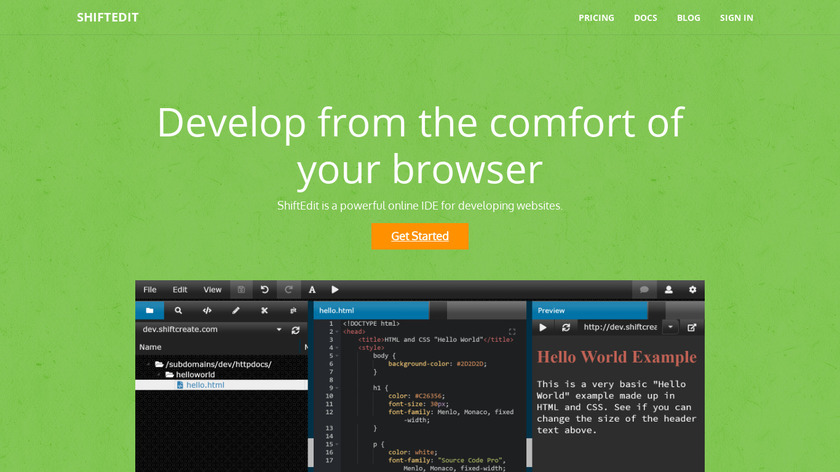 ShiftEdit Landing Page