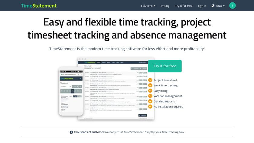 TimeStatement Landing Page