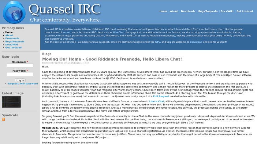 Quassel IRC Landing Page