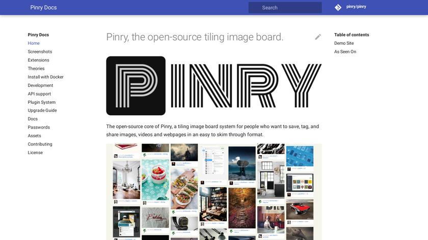 Pinry Landing Page