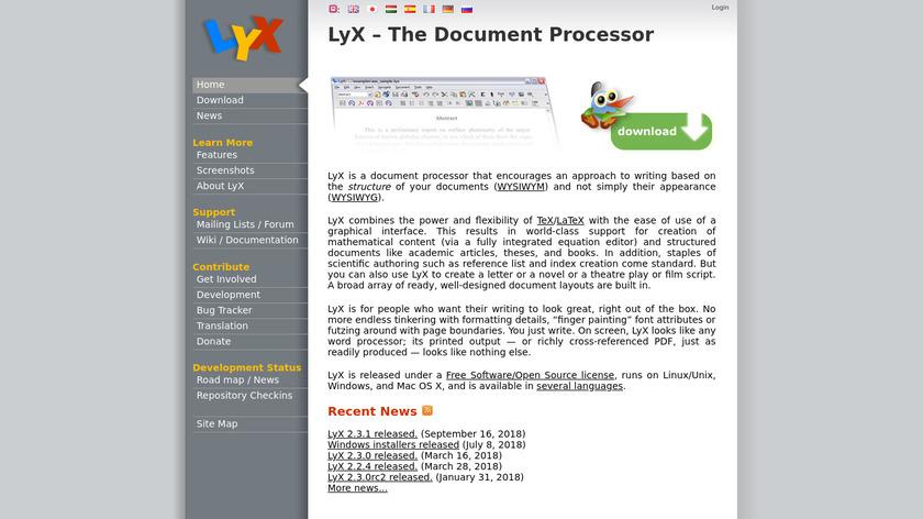 LyX Landing Page