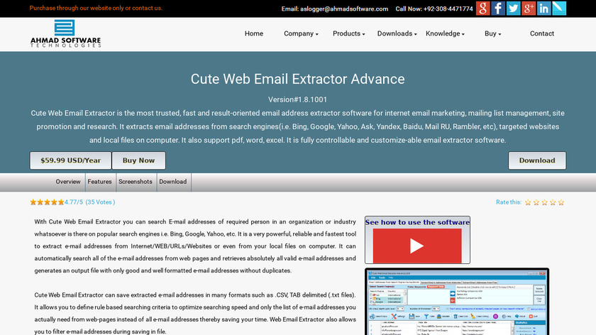 Cute Web Email Extractor Landing Page