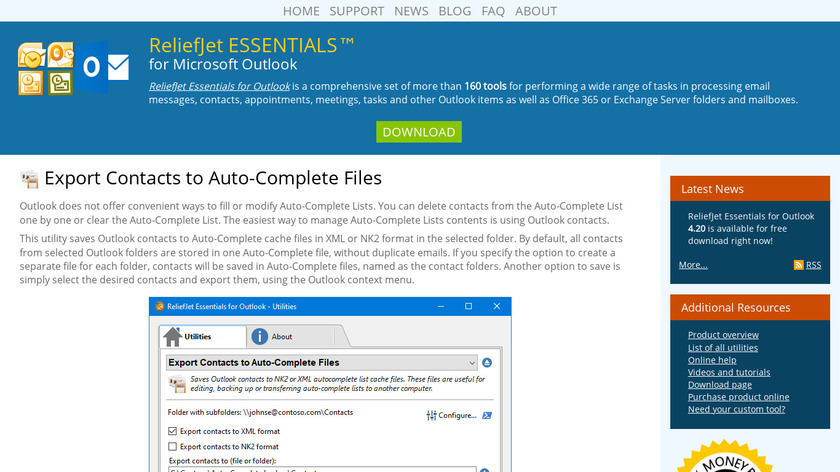 Export Contacts to Auto-Complete Files Landing Page