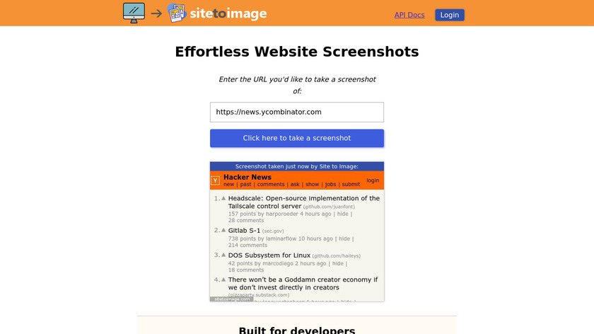 Site to Image Landing Page