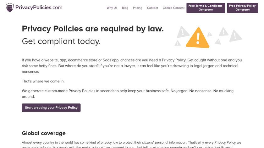PrivacyPolicies.com Landing Page