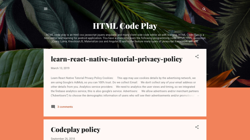 HTML Code Play Landing Page