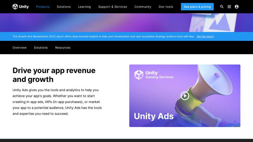 Unity Ads Landing Page