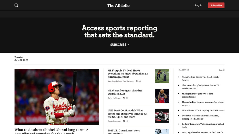 The Athletic Landing Page