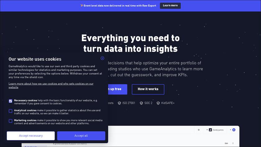 GameAnalytics Landing Page
