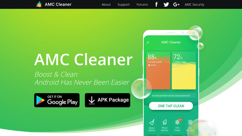 AMC Cleaner Landing Page