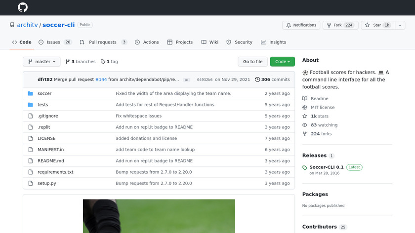 Soccer CLI Landing Page