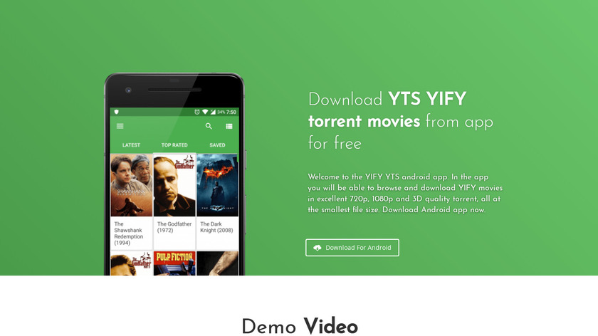YIFY Browser Landing Page