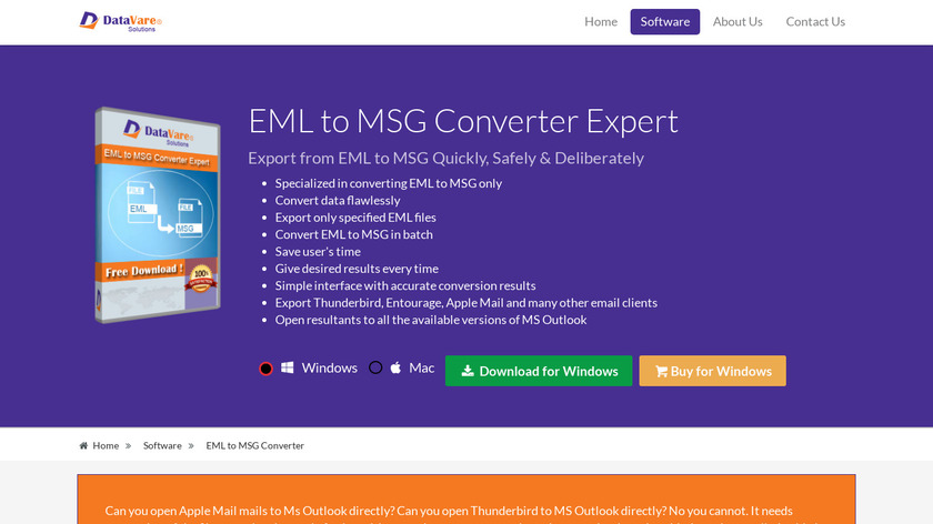 DataVare EML to MSG Converter Landing Page