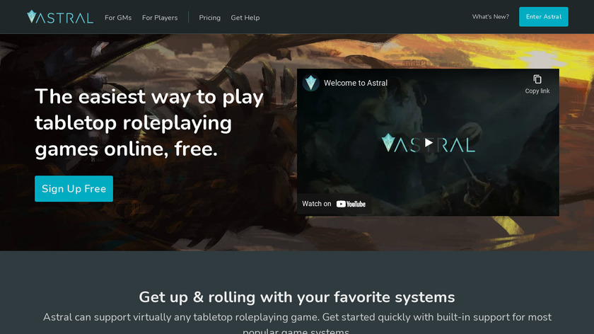 Astral Tabletop Landing Page