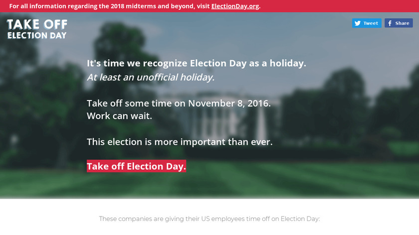 Take Off Election Day Landing Page
