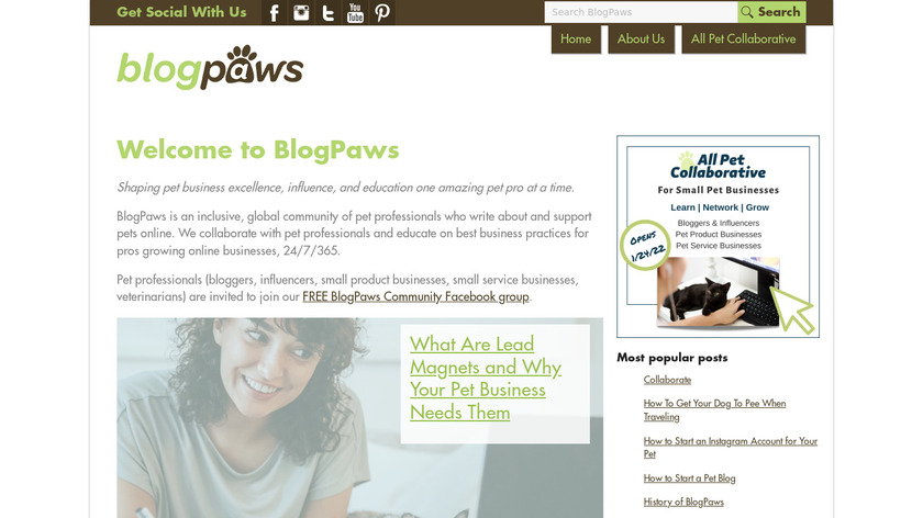 BlogPaws Landing Page