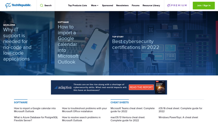 TechRepublic Landing Page